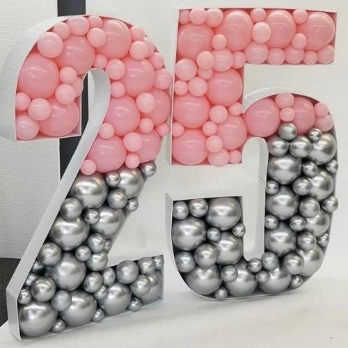 Chữ 3D trang trí sinh nhật với 2 màu hồng và xám sang trọng XV460