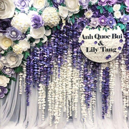 Backdrop tiệc cưới hoa giấy và vải voan XV448