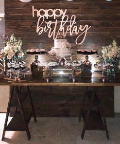 Trang trí bàn gallery sinh nhật phong cách rustic XV544