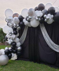 Backdrop sự kiện đen, trắng, bạc XV538