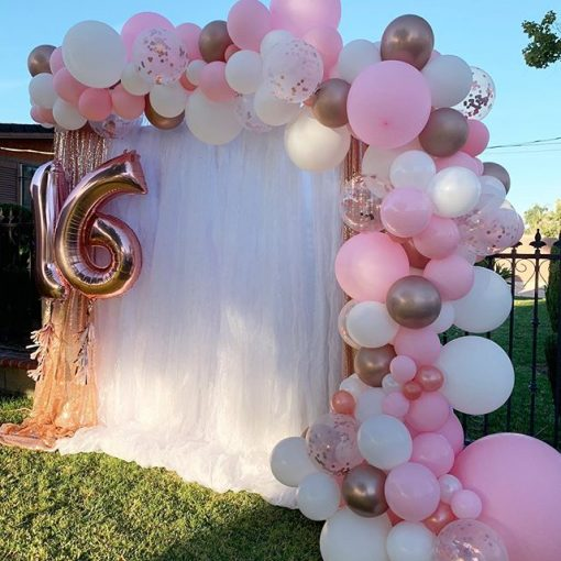 Backdrop sinh nhật màu hồng trang trí cho các bé XV414