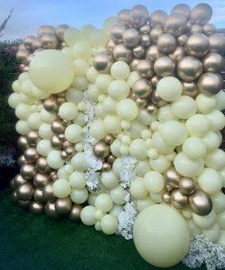 Tường bong bóng xen kẽ hoa trang trí khai trương XV478