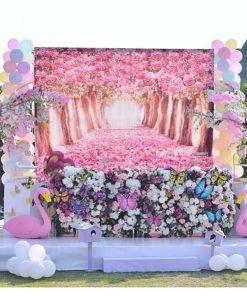Tiểu cảnh tiệc cưới hồng hạc XV436