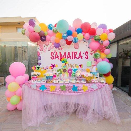 Trang trí bàn sinh nhật bé gái màu hồng XV440