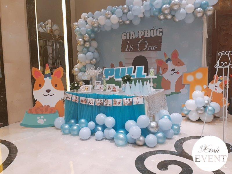 Dây bong bóng trang trí bàn quà sinh nhật cún con XV474