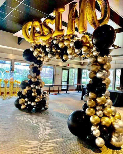 Cổng chào khai trương bóng chrome vàng đồng, bạc và đen XV507