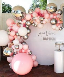Backdrop sinh nhật bé gái màu hồng và bạc trang trí ngoài trời XV509