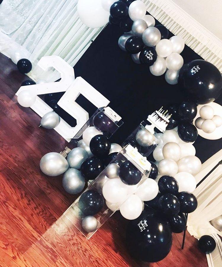 Tiểu cảnh sinh nhật 3D trắng và đen XV510