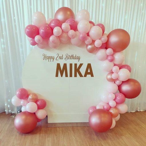 Backdrop sinh nhật trắng và hồng XV516