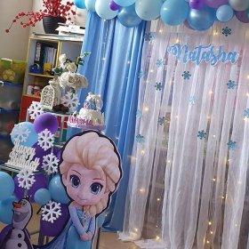 Góc trái bộ backdrop sinh nhật vải voan Elsa XV521