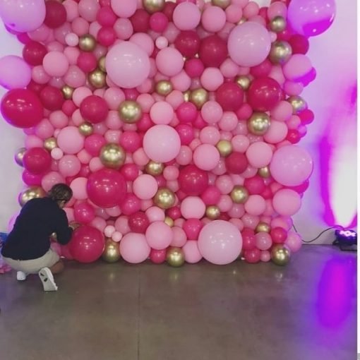 Backdrop sinh nhật vàng đồng và hồng tươi, hồng cánh sen XV526