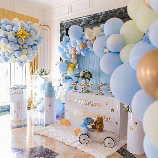 Tiểu cảnh bong bóng trang trí sinh nhật tại nhà sang trọng màu trắng XV540