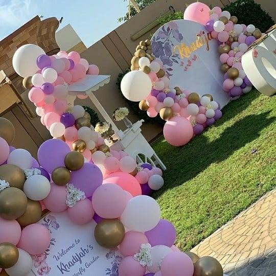 Trang trí tiểu cảnh sinh nhật ngoài sân cho bé gái XV569