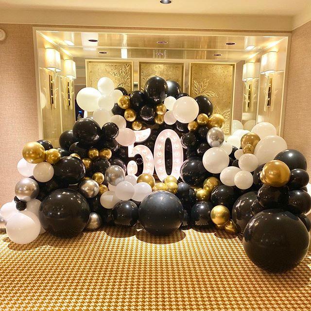Tiểu cảnh bong bóng trang trí sinh nhật trắng vàng đồng và đen XV590