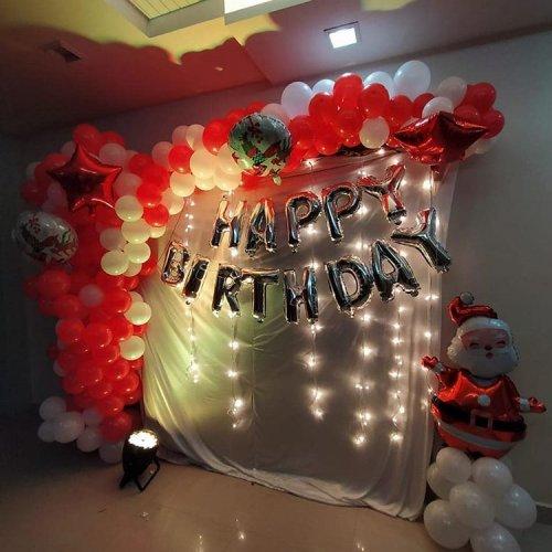 Backdrop sinh nhật bong bóng chủ đề giáng sinh XV577