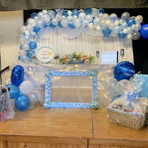 Bàn quà sinh nhật bé trai xanh dương XV593
