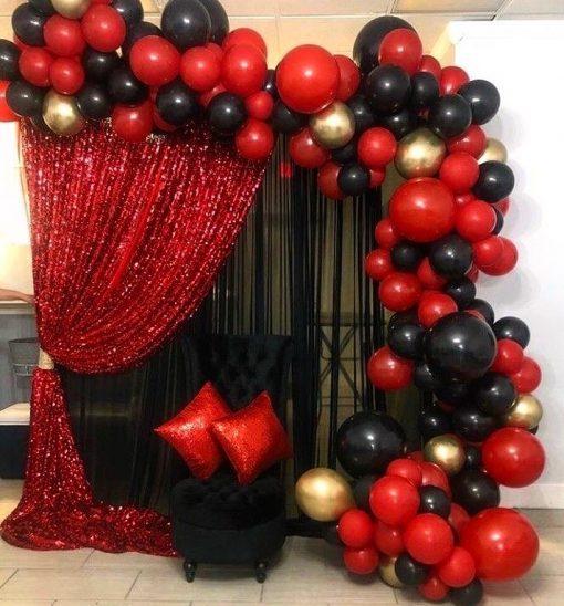 Backdrop trang trí sinh nhật người yêu đen và đỏ XV597