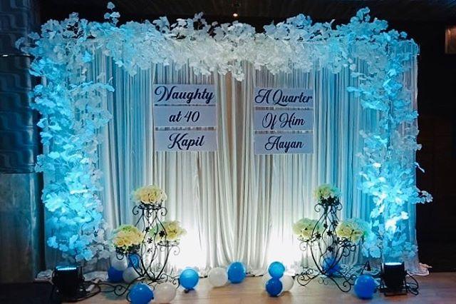 Backdrop sinh nhật vải voan xanh dương XV600