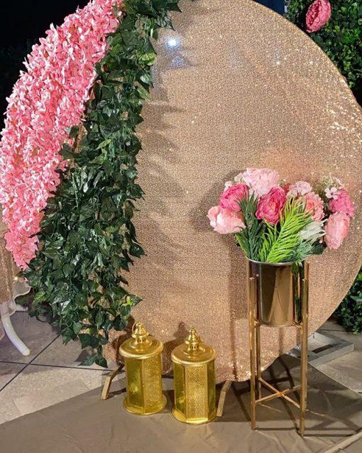 Backdrop sinh nhật vàng hồng sang trọng XV602
