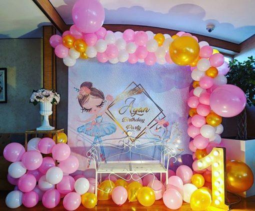 Backdrop sinh nhật trắng hồng 3D XV608