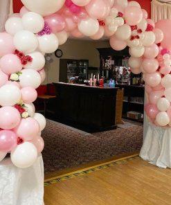 Cổng bong bóng trang trí sinh nhật màu hồng và trắng XV628
