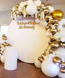 Backdrop sinh nhật tròn vàng đồng XV635