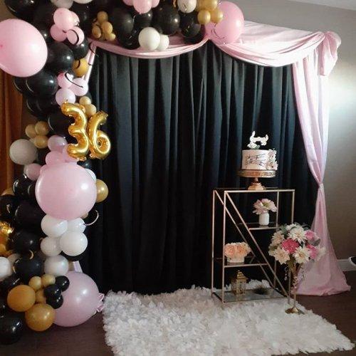 Backdrop sinh nhật tông màu đen, hồng, vàng XV637