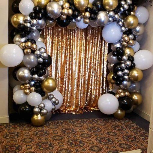 Backdrop sinh nhật vàng đồng, đen, trắng XV659