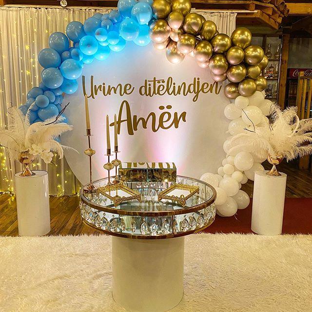 Bộ backdrop sinh nhật tròn trang trí tại nhà hàng XV669