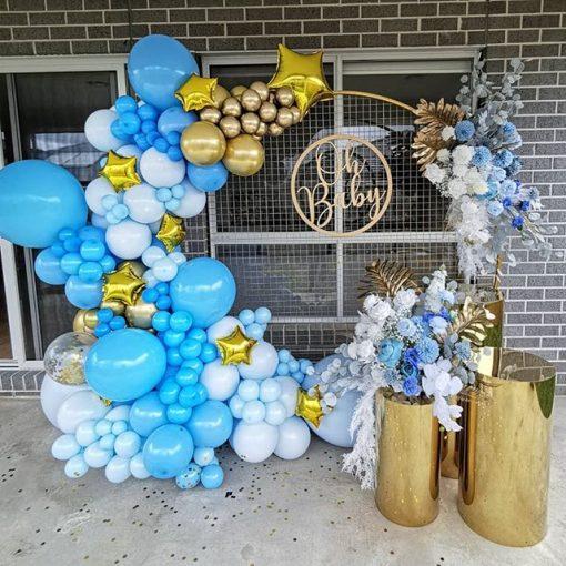 Tiểu cảnh bong bóng trang trí sinh nhật tại nhà sang trọng màu trắng XV617