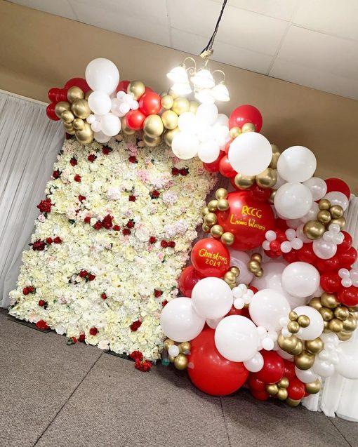 Backdrop trang trí giáng sinh đỏ và trắng XVV642