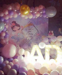 Backdrop sinh nhật đèn led cùng dây bong bóng XV640
