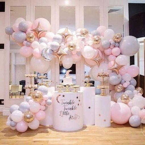 Trang trí tiểu cảnh sinh nhật bong bóng hồng pastel XV664