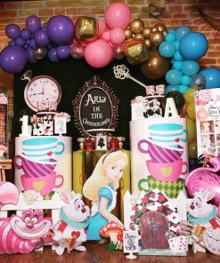 Bộ sản phẩm trang trí bàn sinh nhật Alice in Wonderland XV680