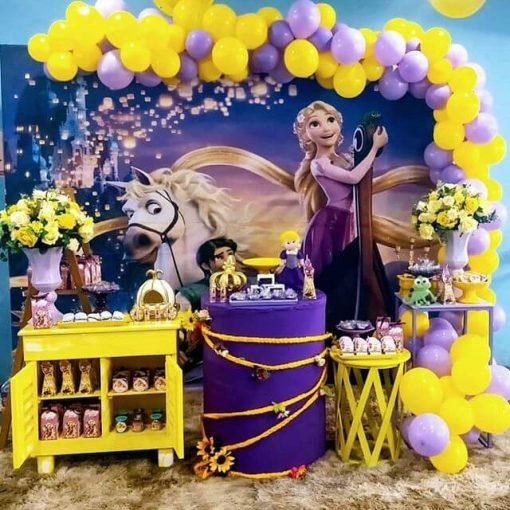 Backdrop sinh nhật Frozen tong màu vàng tím XV702