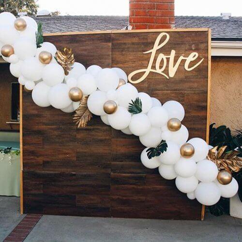 Backdrop cung dây bong bóng trang trí tiệc cưới sang trọng XV707