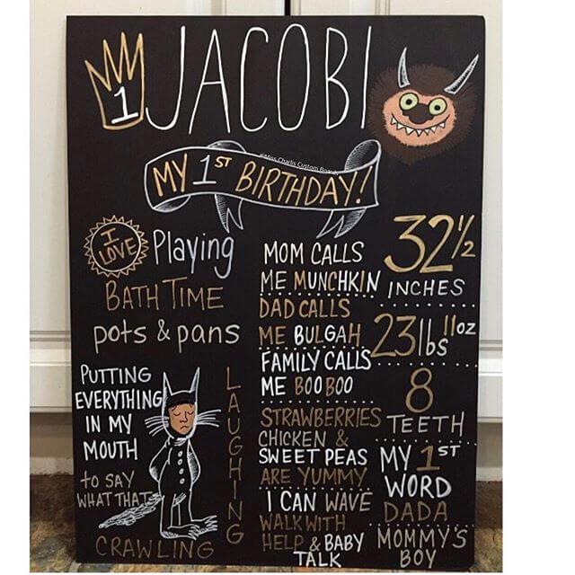 Chalkboard thôi nôi trang trí sinh nhật XV708