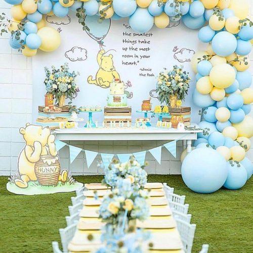 Backdrop bong bóng trang trí sinh nhật bé trai chủ đề gấu dễ thương XV715
