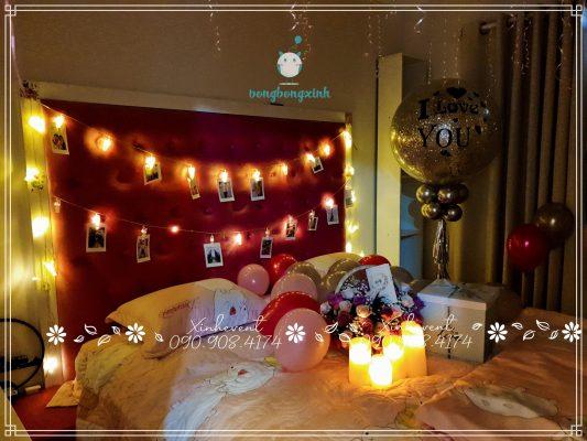 Trang trí phòng sinh nhật cho đôi bạn trẻ tại Chung cư Đức Khải