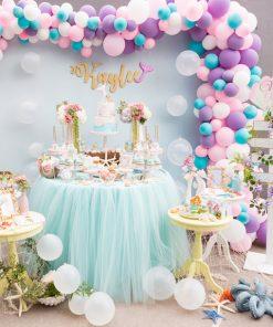 Backdrop kết hợp bàn gallery tuyệt đẹp trang trí sinh nhật bé gái XV712