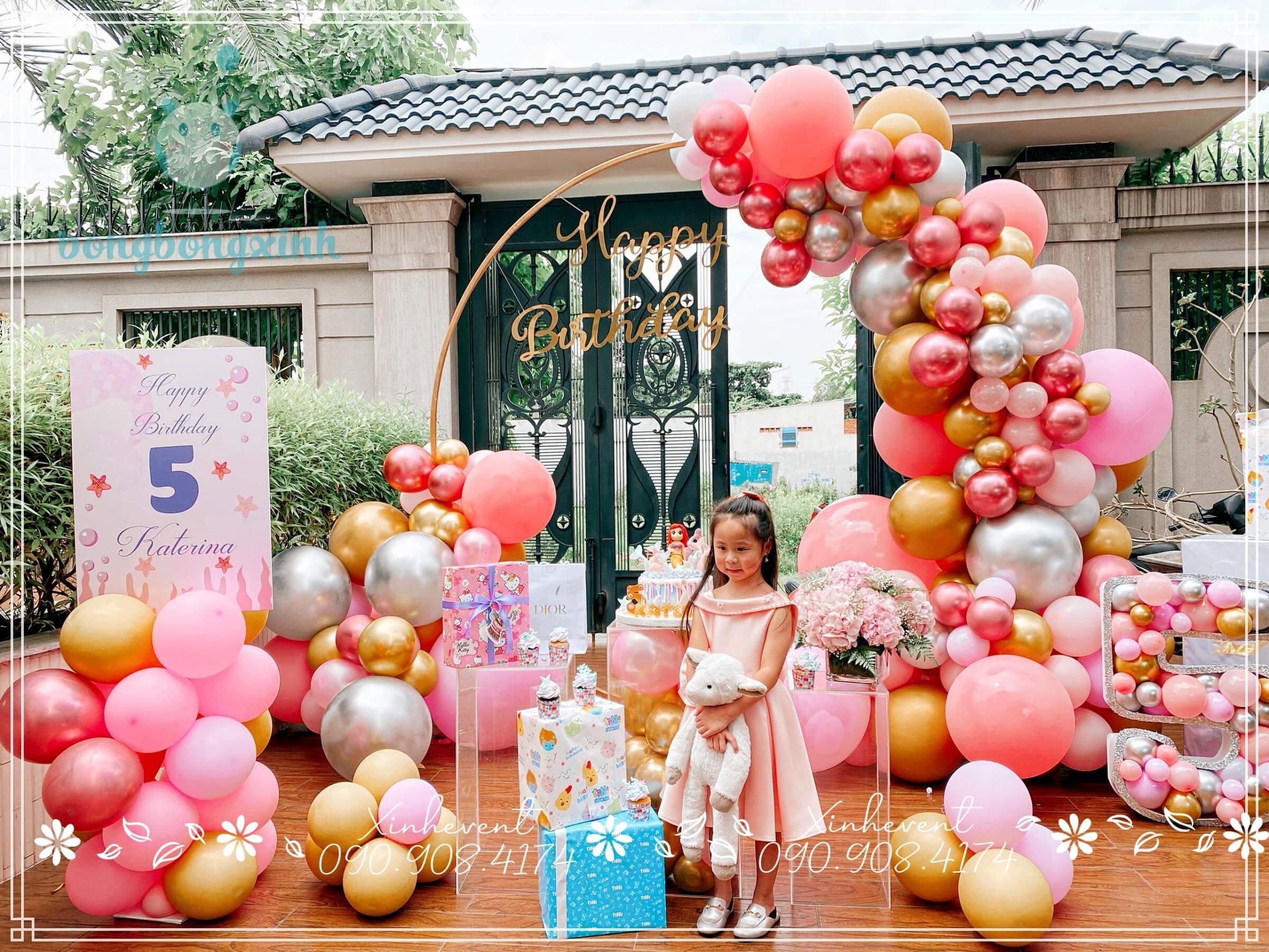Cận cảnh Backdrop trang trí sinh nhật tuyệt đẹp cho bé Katerina