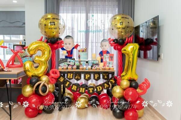 Trang trí bàn sinh nhật cho bé Quốc Hưng