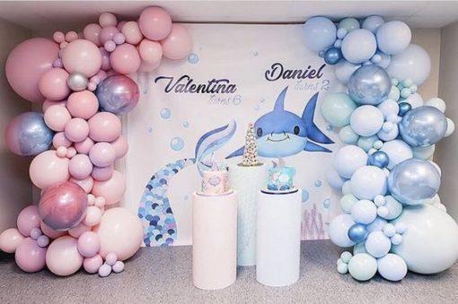 Backdrop sinh nhật cá mập dễ thương XV738