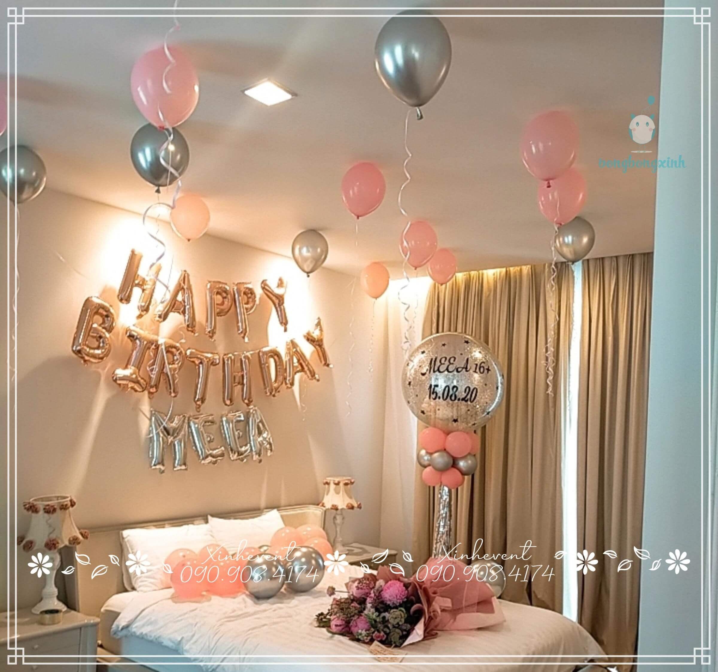 Bong bóng bay là phụ kiện tuyệt vời tạo nên sự thơ mộng và lãng mạn cho căn phòng