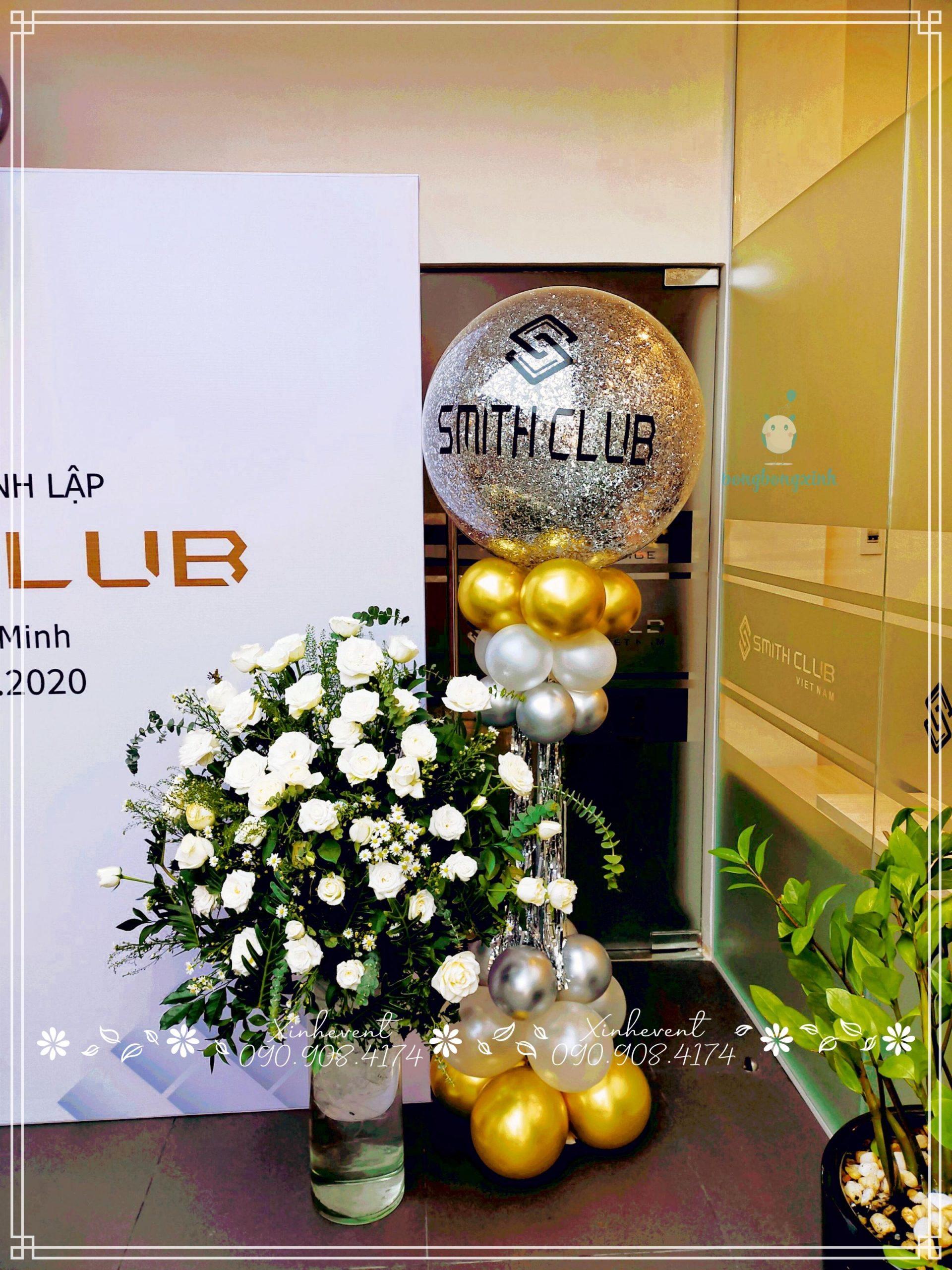 Trụ bong bóng trang trí lễ kỷ niệm 1 năm thành lập Smith Club