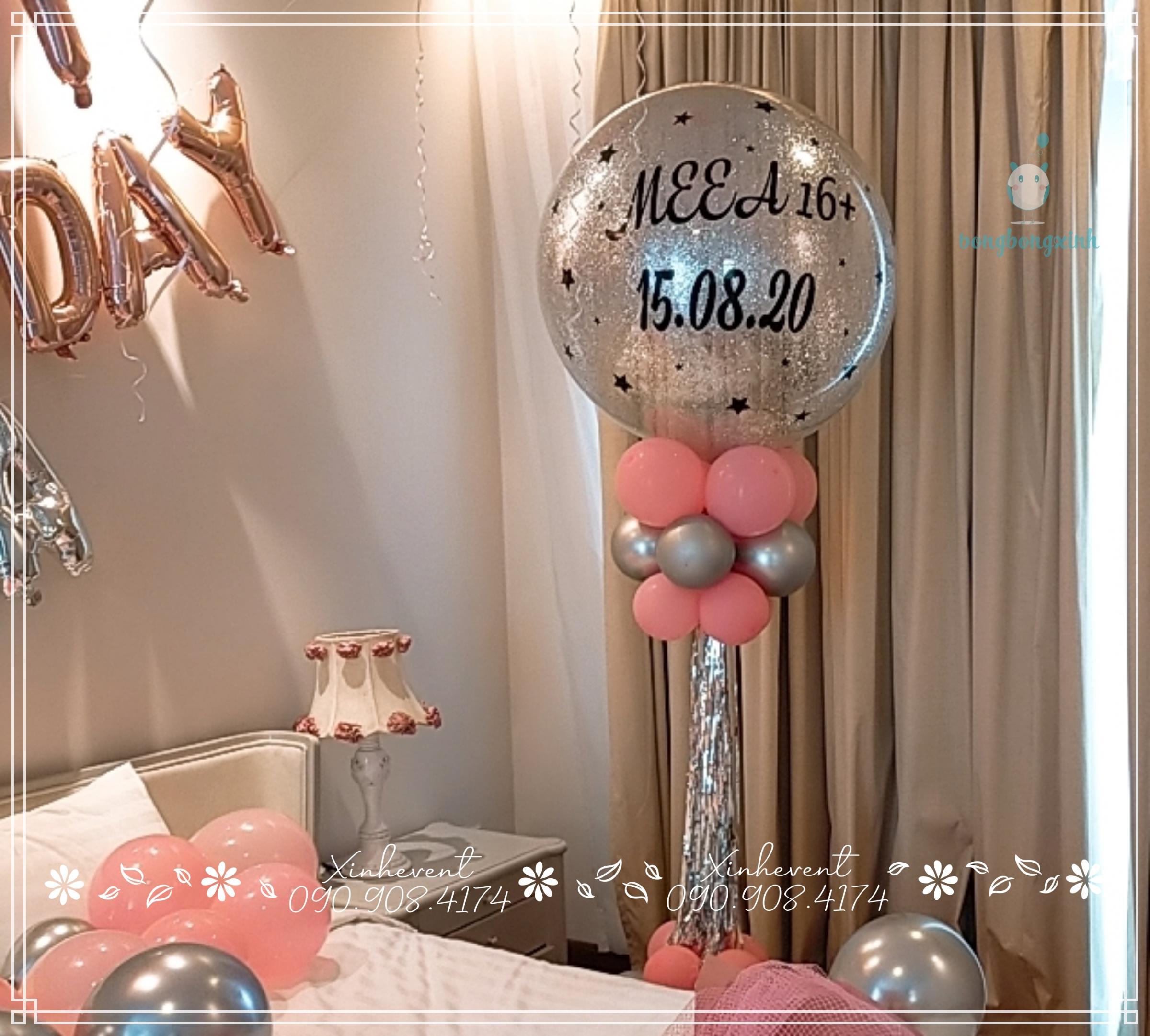 Trụ bong bóng trang trí phòng sinh nhật bạn nữ xinh đẹp Meea