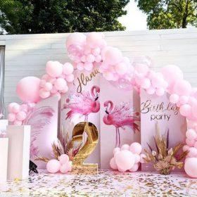 Backdrop trang trí sinh nhật màu hồng cho bé gái XV750