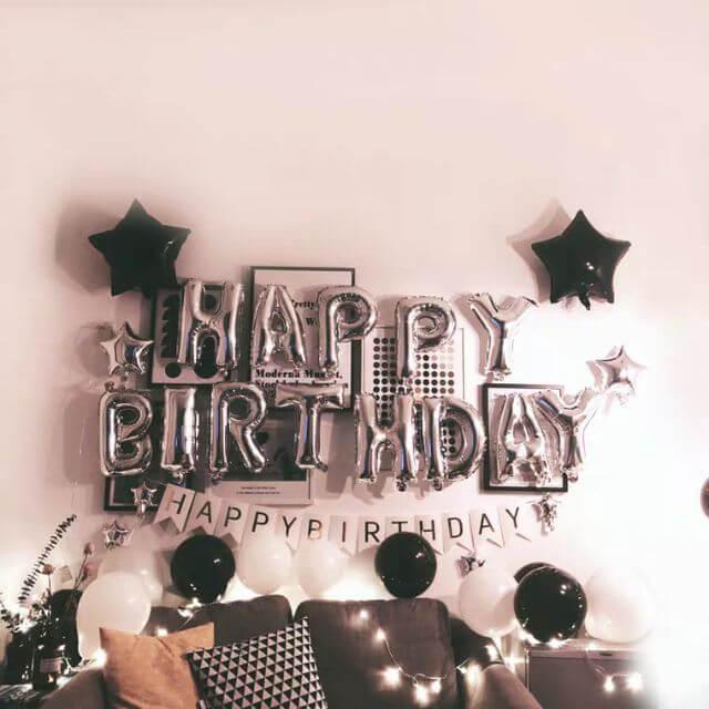 Set trang trí sinh nhật màu trắng - đen