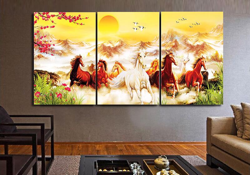 Ý tưởng trang trí tết 2020 với tranh treo tường ngựa vừa ý nghĩa trong phong thủy vừa tăng thẩm mỹ cho phòng khách