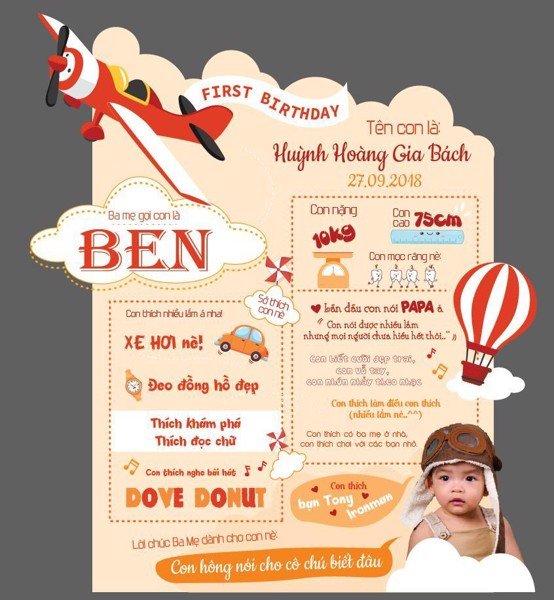 Bảng sinh nhật chủ đề phi công cho bé trai